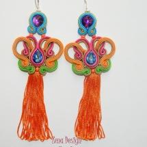 cercei multicolori cu ciucuri portocalii (9)