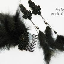 pieptene cu cercei lungi negrii (2)