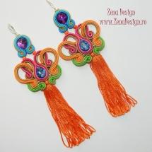 cercei multicolori cu ciucuri portocalii (2)