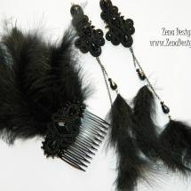 pieptene cu cercei lungi negrii (6)