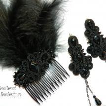 pieptene cu cercei lungi negrii (9)