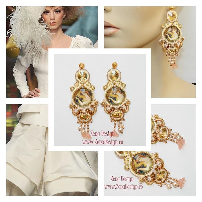 Cercei oversized haute couture cu perle si cristale