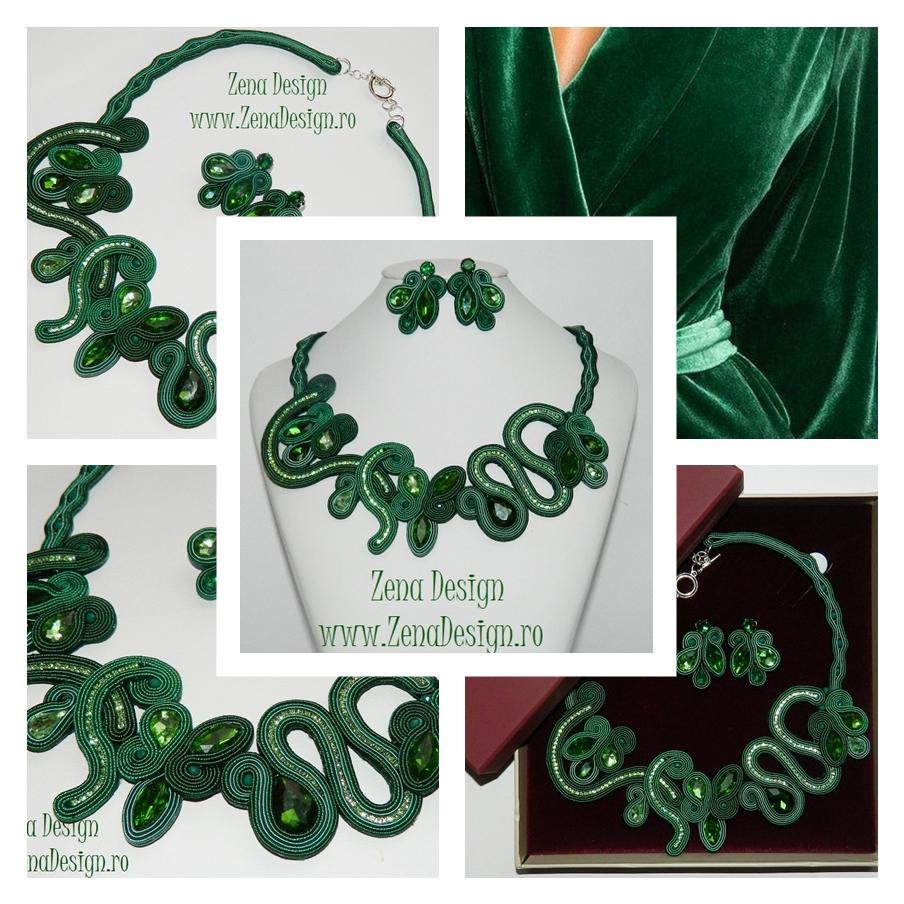 angro design atemporal vânzări la cald Colier elegant verde si cercei asortati, set bijuterii verde ...
